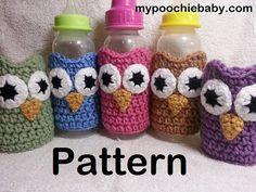 PATTERN  Crochet Owl Baby Bottle Cozy by PoochieBaby on Etsy