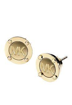 Michael Kors Jewelry MK Logo Button Earring