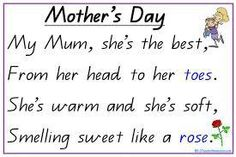 Printable Mom's Day poem - nice for lower / paste sentence and phrase reconstruc. Printable Mom's Day poem - nice for lower / paste sentence and phrase reconstruc. Printable Mom's Day poem - nice for lower / paste sentence and phr. Famous Mothers Day Quotes, Mothers Day Verses, Happy Mother Day Quotes, Mum Poems, Mother Poems, Kids Poems, Small Poems, Rhyming Poems, Mother's Day