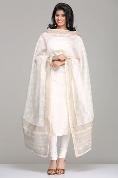 Ivory & Gold Unstitched Chanderi Kurta & Dupatta Set With A Lotus Hand Block Print