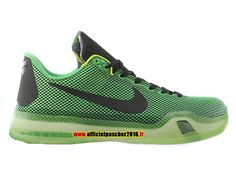 free shipping a91aa 89611 Officiel Nike Kobe 10 EM XDR Chaussures Nike 2016 Pas Cher Pour Homme Noir  - Vert 705317-333