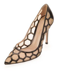 Tuesday, December 31st: Gianvito Rossi Honeycomb Point-Toe Pump, Black/Nude, 212 872 8940