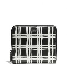 The Bleecker Medium Continental Zip Wallet In Black And White Print Coated Canvas from Coach