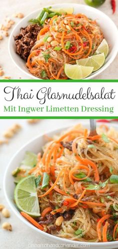 Thai Glasnudel Salat mit Ingwer Limetten Dressing – Yum Woon Sen Thai glass noodle salad Yam Wun Sen – a light healthy Thai salad with glass noodles, ground beef, peanuts, coriander and refreshing ginger lime dressing Asian Recipes, Healthy Recipes, Ethnic Recipes, Cooking Recipes, Healthy Desserts, Meat Recipes, Chicken Recipes, Thai Glass Noodle Salad, Asian Cold Noodle Salad
