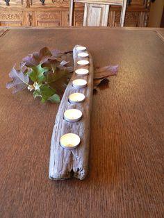 Driftwood candle holder Holiday decor by FlotsamJetsamCrafts