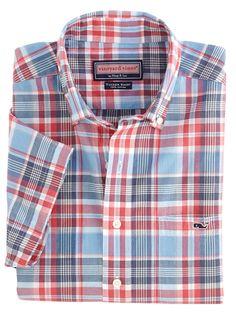 Vineyard Vines Men's Short Sleeve Sea Anchor Madras Tucker Button Down Shirt
