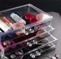 Regalo del día de Vanlentine , joyería 3 drawersTransparent Bead Organizador Caja de almacenamiento , caja de maquillaje de cristal