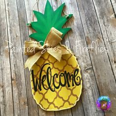 Pineapple Door Hanger Summer Hand Painted Door Hanger