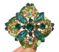 Green & Gold Rhinestone Brooch with Emerald Green by RibbonsEdge