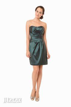 Bari Jay look book - strapless, short, green bridesmaid dress