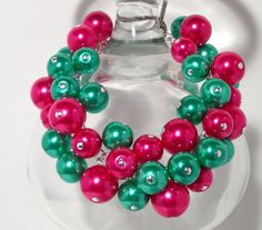 Pink & Teal Green Glass Pearl Beaded Cluster by RadiantByRetha, $16.00