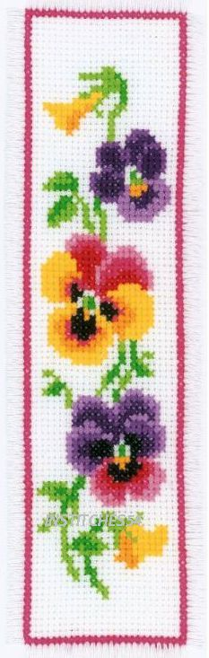 Vervaco Flowers Cross Stitch Kit Pansies Bookmark