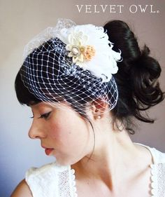 Custom Cap Fitted French netting birdcage veil by VelvetOwl, $30.00