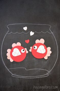 6 Heart Shaped Animals with FREE printable PDFs ~ Heart Shaped Fish Valentine crafts for kids animals silly animals animal mashups animal printables majestic animals animals and pets funny hilarious animal Valentine's Day Crafts For Kids, Valentine Crafts For Kids, Saint Valentine, Valentines For Kids, Toddler Crafts, Preschool Crafts, Art For Kids, Valentine Cake, Craft Activities