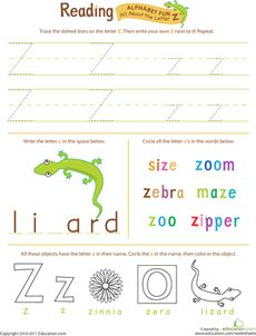 Get Ready for Reading: All About the Letter Z Worksheet