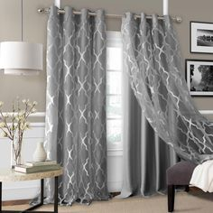 The luxurious Bethany panels feature a deocrative sheer overlying a faux-silk solid woven blackout curtain. The design allows one to achieve an airy feel, but with all the benefits of a room darkening panel. Living Room Decor Curtains, Home Curtains, Room Darkening Curtains, Modern Curtains, Grommet Curtains, Panel Curtains, Curtain Ideas For Living Room, Gray Curtains, Fringe Curtains