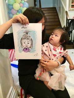 Another angle of one of Niloo the caricature artist drawings at a recent kids birthday party. Caricature Artist, Favours, Portrait, Drawings, Birthday, Illustration, Party, Kids, Children