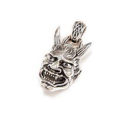 Hannya/Skull/Noh Theater/Jealous Female/925 Sterling Silver Pendant/Demon/Devil/Hannya Pendant/Gothic/Skull Charm/Men's/Women's won-099 Silver Skull Ring, Gothic Rings, Skull Pendant, Chains For Men, Men Necklace, Sterling Silver Pendants, Rings For Men, Jealous, Devil