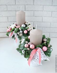 Best 11 45 Ideas Worth Trying as the Ultimate DIY Christmas Decor – SkillOfKing. Christmas Candle Centerpieces, Christmas Flower Arrangements, Pink Christmas Decorations, Christmas Flowers, Christmas Table Settings, Christmas Candles, Christmas Advent Wreath, Christmas Gift Box, Christmas Mood