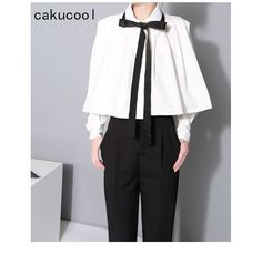 Cakucool Women Solid Casual Crop tops Blouse Loose Poncho Tops Korea Full Lantern Sleeve Bow tie Ladies Pleated Blusas Shirt