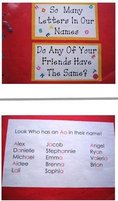 first week of school, lots of good class book ideas and name activities Kindergarten Names, Preschool Names, Kindergarten Language Arts, Alphabet Activities, Literacy Activities, Preschool Phonics, Learning Letters, Preschool Activities, Kindergarten Literacy