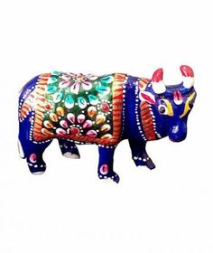 If you are looking for something unique for your living room or study, grab these superb cow figurines. Made of  metal, the cow are in blue, orange, red and green colors. artisans have taken care of all the intricate details of this statue and have enhanced the features using colorful paints. The statue has a superior polish. Makes unique gifts for any occasion.