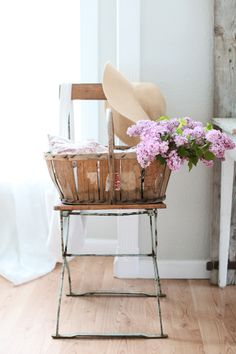 French farmhouse style flower basket.
