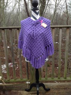 A personal favorite from my Etsy shop https://www.etsy.com/listing/169982643/lavender-preteen-crocheted-poncho-20