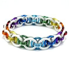 White Rainbow Moon Chain Stretch Chainmail Bracelet - MADE TO ORDER - You Choose Size    - Handmade from high quality aluminum and rubber