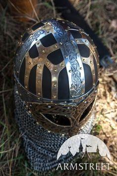 Wikinger Kampfhelm aus Leder mit Stahl-Akzenten