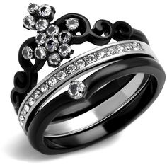 Women's Black Ion Plated Stainless Steel Zirconia Crown Wedding Ring... (34 CAD) ❤ liked on Polyvore featuring jewelry, rings, bridal jewelry, bridal crown, crown ring, stainless steel wedding rings and bride jewelry