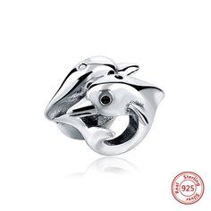 Delfini Amici per sempre in argento Sterling 925, charm, bead adatta a Pandora Charm Pandora Beads braccialetto europeo braccialetto pandora di OceanBijoux su Etsy