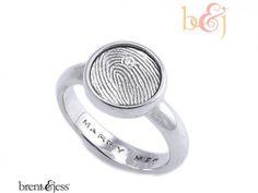 Engagement Sterling Silver Custom Signet Diamond Engagement / Proposal Ring - by Brent & Jess Custom Handmade Fingerprint Wedding Rings and Jewelry