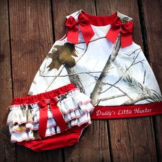 White Camo and Red Daddy's Little Hunter Outfit, made with Realtree