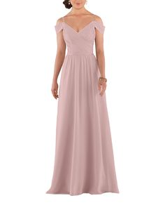 DescriptionSorella Vita Style 8922Full length bridesmaid dressSweetheart neckline with spaghetti straps and off the shoulder sleevesMicro-pleated criss-cross bodiceThin satin waistband and V backChiffon