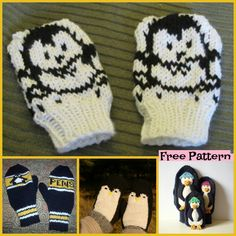 These Knit Penguin Mittens are really cute ! For not only are they really adroble, they are also super warm! You kids will difinitely love them . Knitting Patterns, Crochet Patterns, Mittens Pattern, Crochet Art, Fingerless Gloves, Penguins, Knits, Knitted Hats, Free Pattern