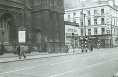 A branch of R S McColl sits uncomfortably between two institutions competing for the loyalty of Glasgow citizens, Renfield Street Church and Lauder's Bar. The photograph, showing the corner of Renfield Street and Sauchiehall Street, was taken in 1963.