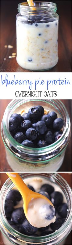 Blueberry Pie Protein Overnight Oats -- just 5 healthy ingredients & 16g+ of protein! Eat dessert for breakfast without any guilt! #Oats #Overnight #Blueberry