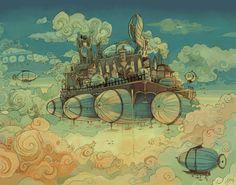Pontoonia Skybase poster di steampunk dirigibile illustrazione