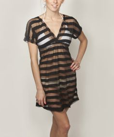 Black Sheer Stripe Cover-Up