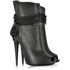 Giuseppe Zanotti Black Leathe Open-Toe Boot ($1,225) ❤ liked on Polyvore featuring shoes, boots, ankle booties, heels, booties, ankle boots, open toe booties, fringe booties, high heel stilettos and peep toe bootie