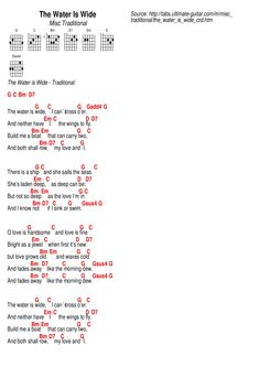 Ukulele Songs, Guitar Chords, The Water Is Wide, Guitar Sheet, Lyrics And Chords, Playing Guitar, Piano, Places, Free Sheet Music