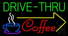 Drive Thru Coffee Neon Sign 20 Tall x 37 Wide x 3 Deep, is 100% Handcrafted with Real Glass Tube Neon Sign. !!! Made in USA !!!  Colors on the sign are Green, White, Blue, Purple, Yellow and Red. Drive Thru Coffee Neon Sign is high impact, eye catching, real glass tube neon sign. This characteristic glow can attract customers like nothing else, virtually burning your identity into the minds of potential and future customers.