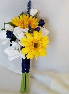 Like the colors and shape for bridal bouquet. Maybe a little more navy and a little less white