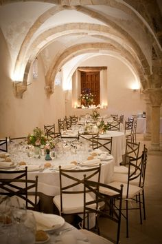 Tables from a stunning wedding in Spain, jaw-droppingly gorgeous. See it on Ruffled now!
