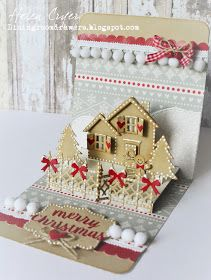 The Dining Room Drawers: Karen Burniston November Design Team Challenge - Gingerbread House Christmas Card Pop Up Christmas Cards, Creative Christmas Cards, Stamped Christmas Cards, Homemade Christmas Cards, Xmas Cards, Handmade Christmas, Holiday Cards, Christmas Crafts, Prim Christmas