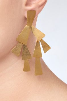 DESIGNER: HERVE VAN DER STRAETEN : Hammered Gold-Plated Drop Earrings