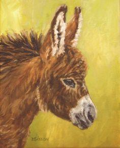 Miniature Donkeys | Little Buddy Oil Painting Pet Portrait Art Miniature Donkey Burro Farm ...