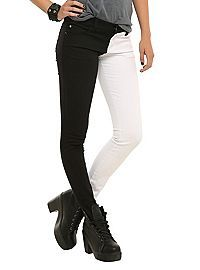 Really want this since long ago | HOTTOPIC.COM - Royal Bones White And Black Split Leg Skinny Jeans
