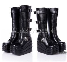 Women's Wedge Platform Knee High boots Strap Buckle shoes Cosplay Creeper Black# #Unbranded #FashionKneeHigh #Party